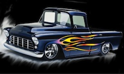 1955 chevy chevrolet pickup hot rod blue candy pearl with flames