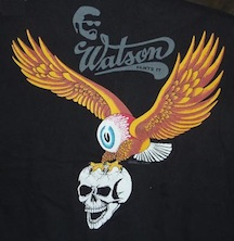 Larry watson flying eyeball eagle wings skull t shirt tee black silk screened bloody watson logo